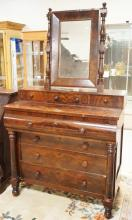 EMPIRE STEP BACK DRESSER WITH MIRROR AND FULL COLUMN FRONT.