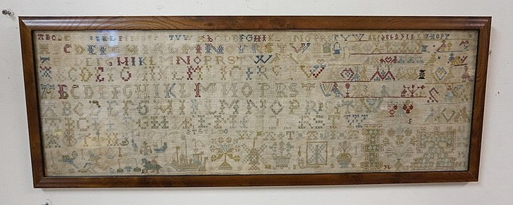 FRAMED SAMPLER; COMPLICATED DESIGN W/PEOPLE,