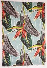 PIECE OF MID CENTURY MODERN FABRIC. FLOWER AND LEAF. APP. 12 FT X 4 FT 10 IN