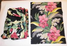 3 SIMILAR CURTAIN PANELS W/ COLORFUL FLORAL ON BLACK. 6 1/2 FT LONG APP 3FT 8 IN WIDE