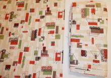 2 BOLTS MID CENT ABSTRACT FABRIC. ONE APP 27 FT X 4 FT, ONE 8 1/2 FT X 4 FT