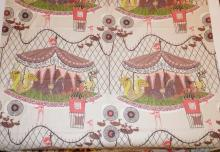 BOLT OF MID CENT FABRIC W/ CAROUSAL DESIGN. APP.32 FT X 4 FT