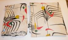 PAIR OF WIDE ABSTRACT CURTAIN PANELS. 7 FT WIDE, 8 FT HIGH