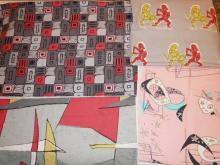 4 PC MID CENT FABRIC, 3 ABSTRACT, 1 W/ KNIGHTS FIGHTING. LARGEST APP. 4 FT X 6 FT ONE MARKED SKYLARK