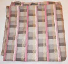 LARGE BOLT OF MID CENTURY FABRIC. APP 33 FT X 4 FT. PINK AND GOLD ON GRAY