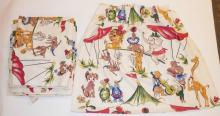 5 CHILD'S CURTAIN PANELS W/ ANIMALS. 4 FT X 3 1/2 FT