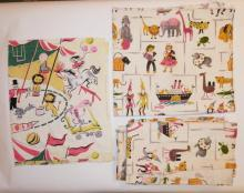 5 PC CHILD'S FABRIC W/ ANIMALS INCL. 3 MATCHING CURTAIN PANELS- 6 1/2 FT X 3 3/4 IN