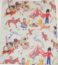 BOLT OF CHILD'S FABRIC W/ TRAIN, SOLDIER, ANIMALS, ETC. 3 FT X 20 FT