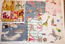 7 PC CHILD'S FABRIC W/ PETER COFFIN'S MOBY DICK, COLDCO'S *WONDERLAND*, CANDELL DESIGN CIRCUS, ETC. INCLUDES A PAIR OF CURTAIN PANELS. LARGEST APP 6 1/2 FT X 4 FT