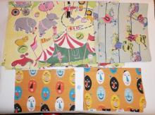 4 PC CHILD'S FABRIC- CIRCUS, CAROUSEL HORSES AND EGG FACES. LARGEST 16 FT X 3 FT