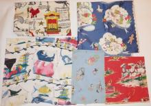 6 PC CHILD'S FABRIC W/ DISNEY, WILD WEST, ANIMALS, TRAINS, *STORY TELLER* BY WAVERLY, ETC