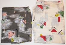 2 PC MID C. ABSTRACT CURTAIN FABRIC- SAME DESIGN, DIFFERENT COLORS.