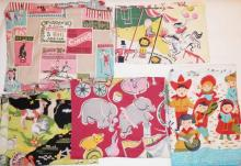 6 PC CHILD'S FABRIC INCL. A PR. OF CIRCUS CURTAINS, CHILDREN SINGING, ETC