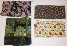 4 PC FABRIC- *PADDINGTON STATION*, BALLET DANCERS, FRUIT AND NUTS. LARGEST 3 FT X 10 1/2 FT
