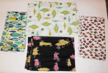 4 BOLTS MID C. FABRIC W/ FISH MOTIF. ONE IS BY LAURA JEAN ALLEN AND TITLED *BEES IN A BONNET*