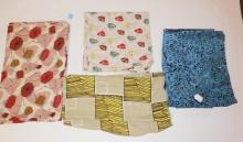 5 PC MID C ABSTRACT FABRIC. LARGEST 4 FT X 18 1/2 FT