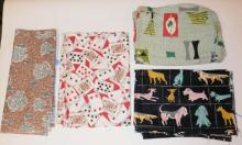 5 PC MODERN FABRIC- ABSTRACT PILLOW OR SEAT COVER, 2 ABSTRACT, ONE DOGS, ONE PLAYING CARDS. LARGEST 3 FT X 11 1/2 FT