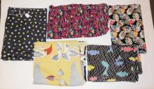 5 PC MID C FABRIC- 3 ABSTRACT, ONE SCENES IN LEAF SHAPES AND ONE W/ FISHING VILLAGE. LARGEST 13 1/2 FT X 3 FT