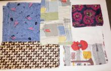 5 PC MID C FABRIC- ONE W/ MUSICAL INSTRUMENTS, 4 ABSTRACT. LARGEST 3 FT X 12 FT