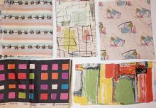 5 PC MODERN ABSTRACT FABRIC. LARGEST IS 3 FT X 10 FT