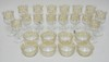 24 PC GOLD DECORATED CRYSTAL: EIGHT 7 IN GOBLETS (2 HAVE SMALL RIM NICKS, ONE HAS A METAL REPAIR TO THE STEM), EIGHT 6 1/8 IN GOBLETS (ONE HAS A RIM FLAKE, ONE HAS A METAL REPAIR TO THE STEM) AND 8 FINGER BOWLS (2 HAVE RIM NICKS)
