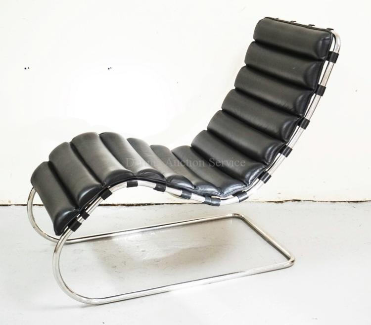 Mies van der rohe for knoll chaise lounge with black leather - Mies van der rohe chaise ...