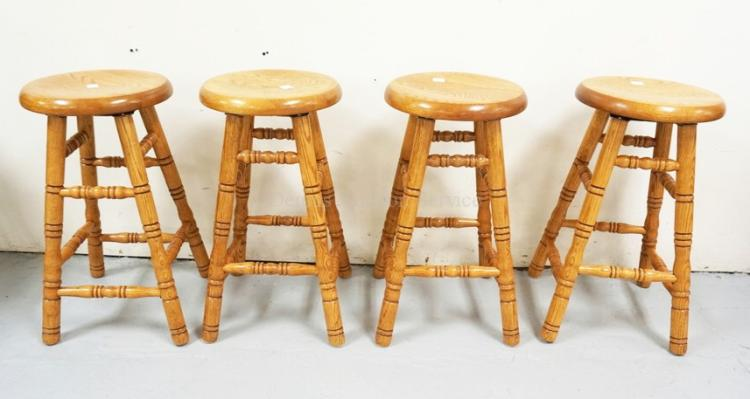 Set Of 4 Oak Swivel Bar Stools 27 Inches High
