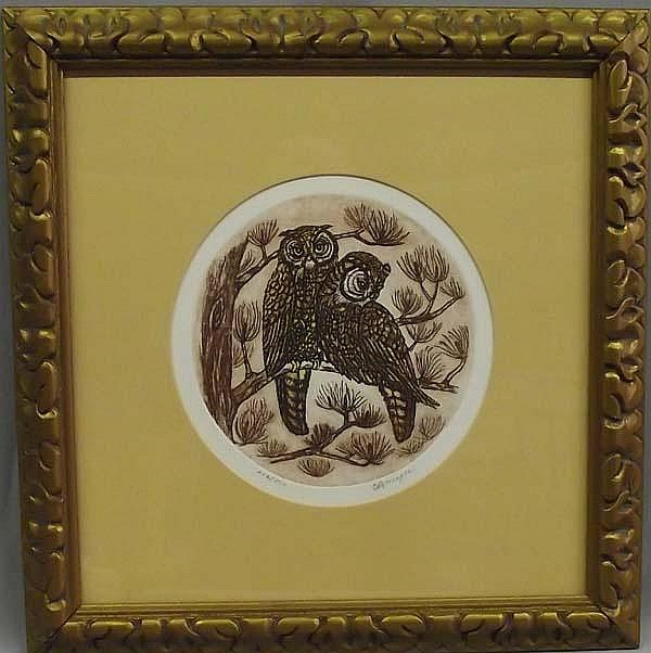 OwlL Owl Lithograph Picture by C. Branagan.