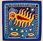 Huichol Yarn Painting Praying Shaman, Signed