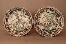Pair of Chinese porcelain dishes, painted with bir