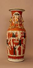 Chinese porcelain vase with monks holding script s