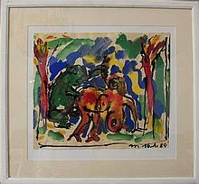Otto Mühl (1925-2013), Erotic scene; watercolour a