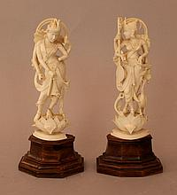 Pair of Indian ivory goddnesses finely carved on l