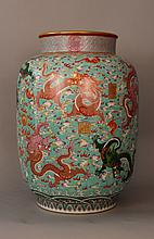 Monumental Chinese porcelain vase with highly deco