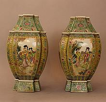 Pair of Chinese Famille Rosé style porcelain vases
