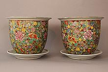 Pair of Chinese porcelain flowerpots with multicol