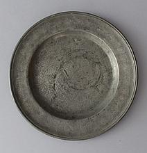 Jewish pewter seder plate with rich floral decorat