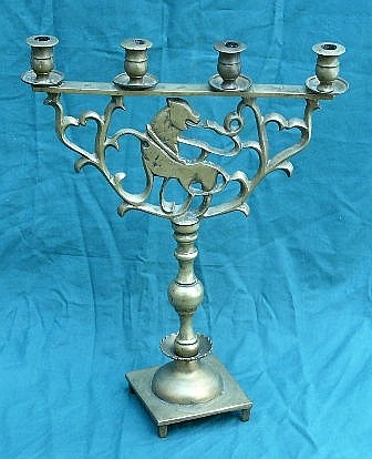 Jewish Menorah, Brass , former 7 candle holders (