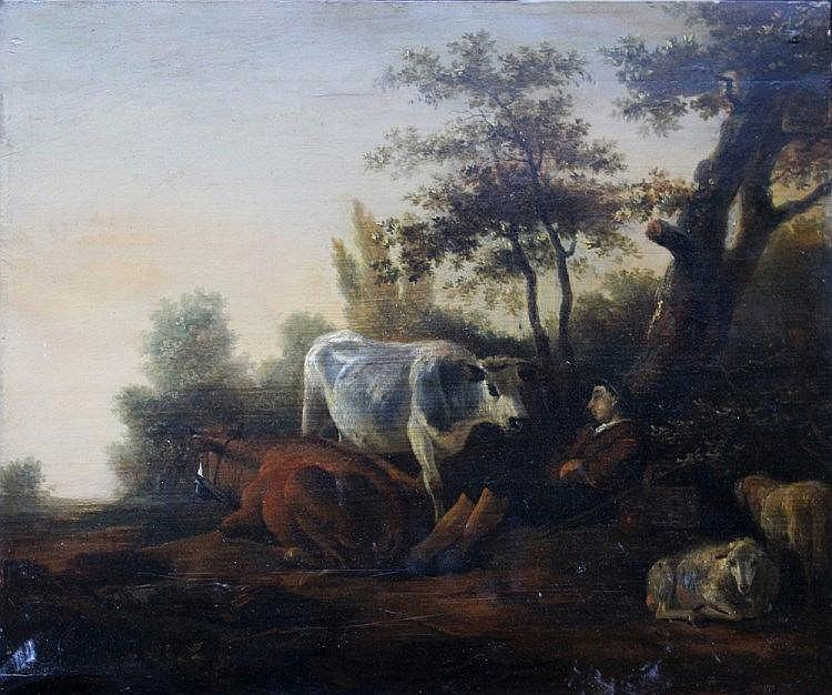 Adam Pynacker (1622-1673), The sleeping shepherd with goats and cows in landscape, oil on oak panel.