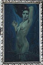 Symbolistic artist around 1920, Naked girl in fantastic landscape, signed b