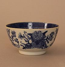 Chinese Porcelain Bowl  with blue  painted floral  decorations on the outsi