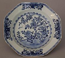 Chinese porcelain salver in blue and white, painted with birds and flowers