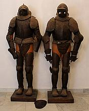 Two English or French civil war style iron armours; full body with helmet,
