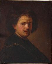 Rembrandt Harmenszoon van Rijn (1606-1669)-circle, Portrait of a young man;
