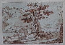 North Italian School 18th Century, Landscape with mountains; red and brown