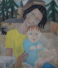 Marie Vassilieff (1884-1957)-attributed, Woman with a child and Dog  in fro