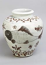 Chinese Porcelain Pot in Yuan manner, black and blue  painted with fish and