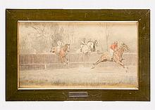 Ludwig Koch (1866-1934), Jockey race, black chalk and ink with watercolour
