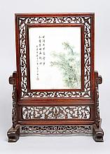 Chinese porcelain table Paravent, in the centre porcelain plaque with multi