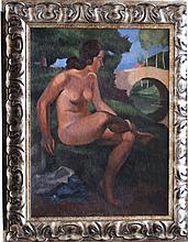 Sava Šumanović (1896-1942)-attributed, Female nude by a bridge in landscape